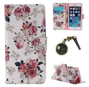 PU Coque Apple iPhone 6 Plus (5.5 pouces), Multifonction Case Wallet Cover Etui en cuir Étui de protection flip Wallet stand Cover avec des fentes de cartes pour Apple iPhone 6 Plus (5.5 pouces) +Bouchons de poussière (2BD)