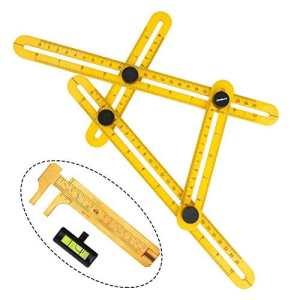 ATPWONZ Multi-Angle Règle – Mesure Modèle de Ruler Tous les Angles Formes Règle Plastique Outil de Mesure (Jaune)
