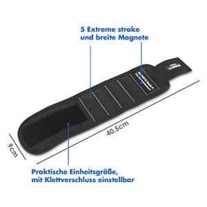 SCHMITZ. Tools artisans–Bracelet magnétique avec un maximum de force magnétique–Velcro–Bracelet magnétique pour petits outils, vis, clous ou a coudre
