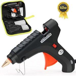 Pistolet à Colle LeaderPro avec une Trousse à Outil, 60W (Plus Efficace que 20W), 20pcs Bâtons de Colle 19cm*11mm, pour Bricolages/Loisir Créatifs/DIY, Noir