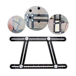 Règle de mesure à multi-angle générale – Cszxx gabarit à multi-angle en alliage d'aluminium de haute qualité, idéal pour les bricoleurs, les menuisiers, les artisans, les carreleurs (Noir)