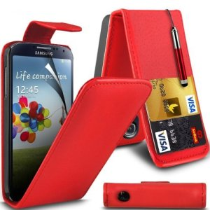 (Rouge) Samsung Galaxy S4 i9500 Personnalisée Faites en simili cuir carte de débit/crédit logement Flip cas couvrir la peau, Capacative escamotable Écran tactile Stylet &protecteur d'écran protecteur par * Aventus *