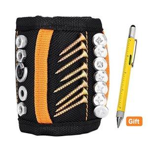 Bracelet magnétique Baban Puissants Forts Magnétique Bracelets + 6 Stylo Multi-Fonction pour Maintenir des Outils, Vis, Clous, Tournevis et Petits Outils, Meilleur Cadeau D'outil pour DIY Bricoleur