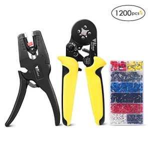 Amzdeal Pince à Sertir + Pince à Dénuder & Coupe-câble +1200pcs Embouts Isolés Sertissage AWG23-8 (0,25-10mm²)/ Dénudage AWG32-7(0,03-10mm²) Cosses Electriques (0,25-10,00 mm², 8 Tailles différentes)