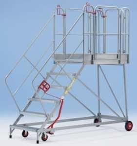 Plate-forme mobile XXL – marches grillagées – 6 marches, hauteur marche sup. 1380 mm – escalier escaliers marchepied marchepieds plate-forme mobile plates-formes mobiles échelle échelle en acier échelles échelles en acier Escabeau Escabeaux Escalier