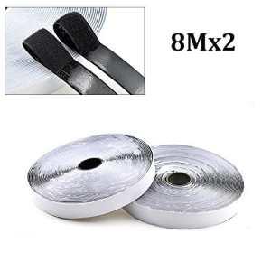 Rubans adhésifs – Dohuge 8M bandes adhésives, ruban adhésif double face auto-adhésif, 20mm de large, noir, Adhésif extra-forte bande auto-adhésive de crochet de bande