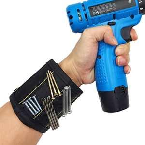 Bracelet Magnétique de Bricolage, 10 Aimants Puissants Forts Magnétique Bracelets pour les vis de Maintien, Clous,Trépans de forage, Tournevis, Meilleur Cadeau D'outil pour DIY Bricoleur