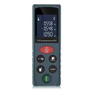 ERAY 60M Télémètre Laser Numérique Professionnel Portable Antichoc – Mesure Verticale et Horizontale, Calcule Surface/Volume/ Pythagore – Rétro-éclairage LCD, Batterie Incluse (Bleu-60M)