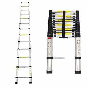Leogreen – Echelle Telescopique, Échelle Extensible, 3,8 mètre(s), EN 131, Charge maximale: 150 kg, Distance entre les marches (échelle déployée): 30 cm