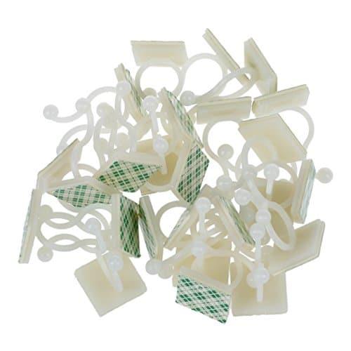 SODIAL(R) 25 Pcs Blanc casse Nylon autocollantes verrous tournants Porte-Fil