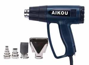 Pistolet à air chaud-1800W, 50-600 ℃,Décapeur thermique à température réglable 220V avec réglage de la vitesse du vent et 4 buses de chauffage-Bleu marine
