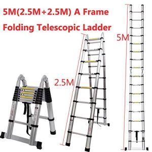 Generic * *–Usage d'Alun télescopique en Aluminium–Usage Une échelle Pliante M Telescopi ER Pliante Exten 5m Portable Multi-Usage ER Fold Extensible Échelle
