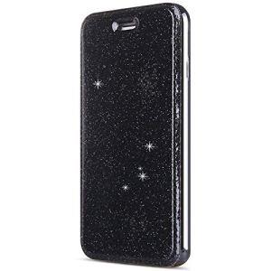 SainCat Coque iPhone 6 Plus, Ultra Slim Portefeuille Bling Glitter Flip PU Cuir Paillette Fonction Support Antichoc Coque pour iPhone 6 Plus/6S Plus-Noir
