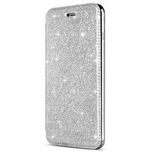 SainCat Coque iPhone 6, Ultra Slim Portefeuille Bling Glitter Flip PU Cuir Paillette Fonction Support Antichoc Coque pour iPhone 6/6S-Argent