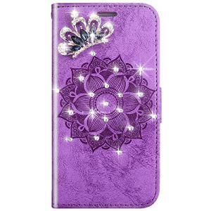SainCat Coque LG K10, Ultra Slim Portefeuille Bling Fleur de Mandala Flip PU Cuir Glitter Paillette Strass Fonction Support Antichoc Coque pour LG K10-Pourpre