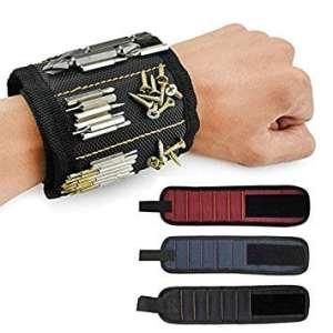 Bracelet Magnétique, Pawaca 5 Puissants Aimants Forts Magnet Arm Band pour les Vis de Maintien, Clous, Trépans de Forage – Best Tool Cadeau pour Bricoleur Handyman, Hommes, Femmes