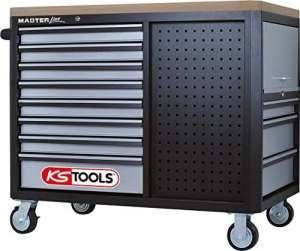 KS Tools Master Line Giant avec 11tiroirs, 1porte et 2étagères, noir/argent, 878.0012