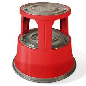 Tabouret marchepied casa pura® roulant | métal avec plateforme caoutchouc antidérapante | rouge