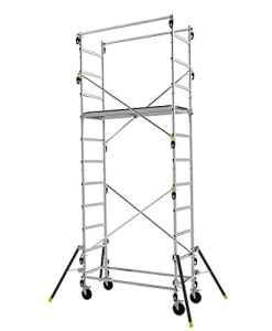 Echafaudage roulant en aluminium à structure évolutive (3 hauteurs possibles) – 4.7m haut. travail max