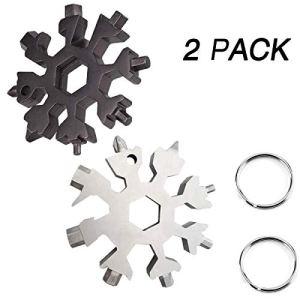 Outil multifonction en acier inoxydable pour porte-clés 18 en 1 avec flocon de neige, outil pour le camping en plein air, CF-00027, noir/blanc, Medium