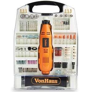 VonHaus Outil rotatif multifonctions 135 W avec jeu de 232 accessoires — Idéal pour le bricolage et l'artisanat — Compatible avec les accessoires de la majorité des marques — Vitesse variable
