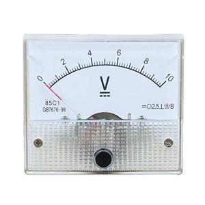 Robluee Volmètre Tension Pointeur Analogique 85C1 DC en Plastique Meter Panneau 5V 10V 15V 20V 30V 50V 75V 100V 150V 200V 250V 300V 450V 500V Calibre Mécanique 64 * 56mm