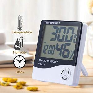 DoreenBow Écran LCD Électronique Thermomètre Numérique Hygromètre Humidité de la Température Intérieure avec Fonction Réveil (HTC-1)