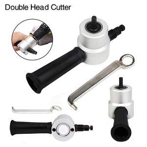 Double tête fiche metal grignoteuse pour perceuse fixation ultimate multipurpose, outil de coupe-feuille scie accessoire de forage (Nibbler)