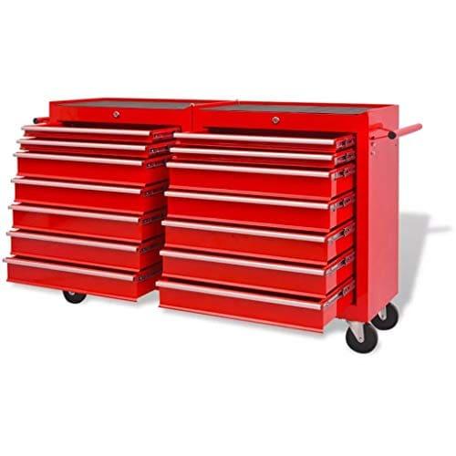 Generic Rawers Outil de Roue de tiroirs de Rangement de Roue Rouge Heavy Duty Rouge Lourd D Chariot tiroirs Shop Mech Atelier mécanique Y Duty W de Roue