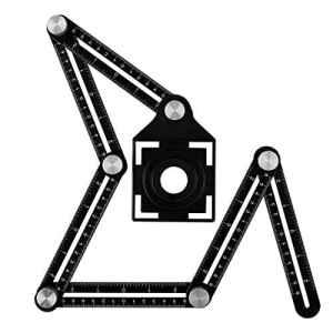 Règle de mesure multi-angle en aluminium avec ouverture de positionnement pour menuiserie, brique, artisans, bricoleurs, bricolage [Version mise à jour]
