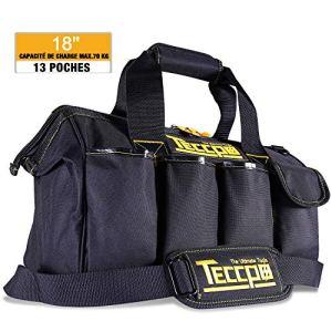 Sac Outils 18», TECCPO Boîte à Outils Textile, Stockage Fort avec Base, Bandoulière Réglable, Poignées en Caoutchouc, Sac à Large Ouverture – THTB01B