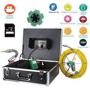 TQ 20M IP68 étanche Tuyau de vidange égout Inspection système de caméra 7″LCD DVR 1000TVL caméra avec 6W LED lumières 8GB Carte SD,40M