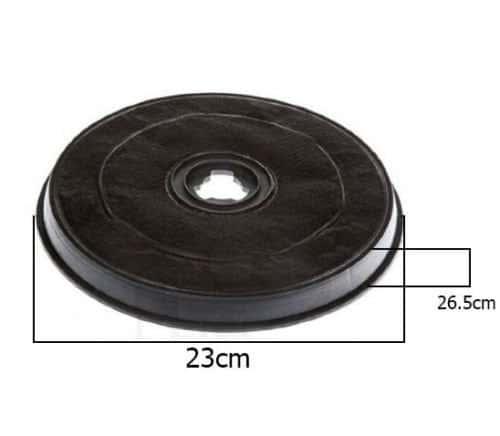 Filtre Hotte WHIRLPOOL de dietrich charbon actif H 26,5mm Ø 23,2F 38