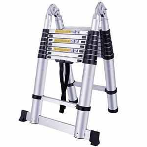 LARS360 Télescopique Multi-Fonction Echelle Pliable Extensible aluminium Portable et Pliante Escabeau, 5m pliable