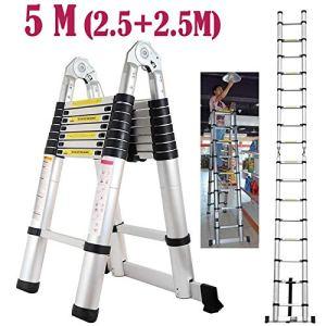 Autofather 5m Stand en A Échelle télescopique en Aluminium Pliable Extensible Loft Grenier Échelle Multi Purpose 16étapes