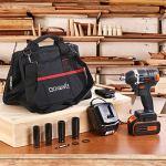 Clé à Chocs Sans Fil, GOXAWEE 20V Boulonneuse a Choc Electrique (4.0Ah Batterie Lithium, 300Nm/ Brushless/ 2-Vitesses, 6,35mm & 12,7mm Mandrin) avec 11 Accessories Inclure Sac à Outils