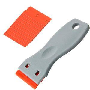 Kaiying Auto Sticker Remover Plastic Blade Triumph 1.6×3.8″ Scraper avec 10 PCS Lames de lame de rasoir en plastique pour retirer le résidu de colle