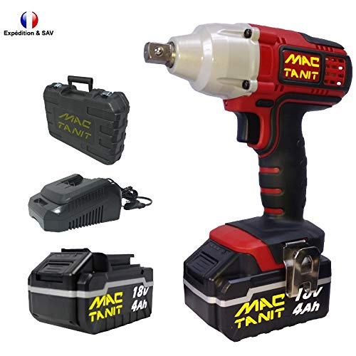 Puissante Clé à chocs, Boulonneuse à impacts sans fil Brushless ECO 18V, 350 N-m + 2 batteries 4Ah et Chargeur rapide 1 h, 0 à 3500 ipm MAC-TANIT