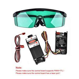 HUKOER Module laser bleu de contrôle 5.5W 450nm TTL PWM, tête laser réglable de focale CC 12V, module de gravure de tête laser+ lunettes de protection pour machine de gravure laser de bricolage