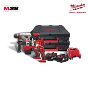 Pack 3 produits MILWAUKEE M28-2 batteries 5.0 Ah – 1 chargeur M28 PACK G-502X 4933448970