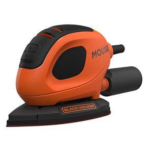 BLACK+DECKER BEW230-QS Ponceuse de détail Mouse filaire – 1,5mm de diamètre d'orbite – Fixation auto-agrippante – Vitesse variable jusqu'à 11 000 osc/min – Livrée avec 6 abrasifs 55W