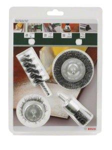 Bosch 2609256553 Assortiments de 4 brosses: Brosse circulaire/Brosse pinceau/Brosse cylindrique/Brosse boisseau Queue de 6 mm