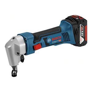 Bosch 0601529501 Grignotteuse + 2 Batteries 18V 5Ah Li-ION + Chargeur + Coffret L-boxx, Bleu