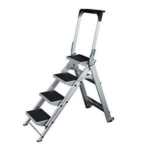 CaoDquan 4/5 Étape Pliant en Aluminium Ladder Anti-Slip Portable escabeau Accueil Maison Bureau Garage Peinture Échelle avec Roue Accueil Escabeau Pliant (Color : Silver, Size : 5step)
