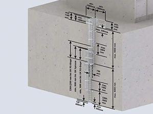 Mehrzügige échelles 530130 en acier inoxydable avec protection dorsale