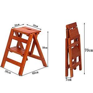 QingShunBeiJing Escabeau Pliable à 2 étages en Bois Massif Chaise échelle multifonctionnelle Transformation créative Tabouret d'échelle de Cuisine Bureau Double Usage