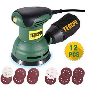 TECCPO Ponceuse Excentrique, 280W, 12,500 RPM, 12pcs 125mm Disque de Ponçage (Grain Abrasif de 80, 180) pour polir le bois aussi le métal – TARS23P Offert Bricolage