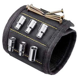 TIMESETL Bracelet Magnétique Outils Bracelets Magnétiques Réglables avec 10 aimants puissants forts pour La Tenue des Outils, des clous, des vis, des trous et des petits outils