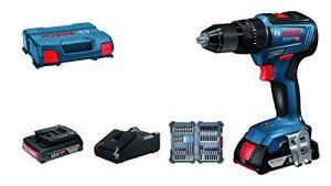 Bosch Professional 06019H5306 GSB 18V-55 18V System Perceuse-visseuse à Percussion sans Fil (Batterie 2×2.0 Ah + Chargeur Inclus, 35 Pièces Set d'Accessoires à Impact, dans une L-Case), Édition Amazon