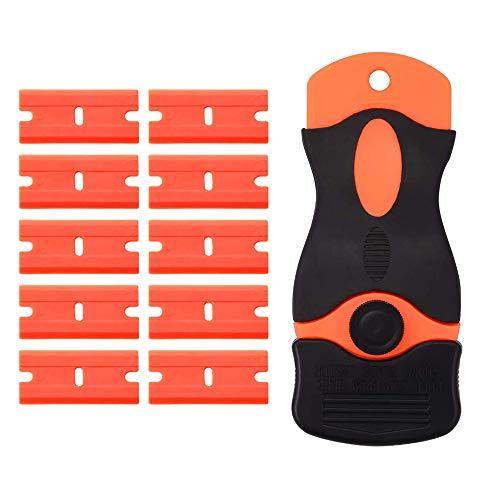 Sinogoods Grattoirs, Grattoir à verre Couteau en Plastique avec 10 raclettes de sécurité en plastique, pour Verre Enlever Les éTiquettes Autocollants et DéCalcomanies Nettoyage de Vitres